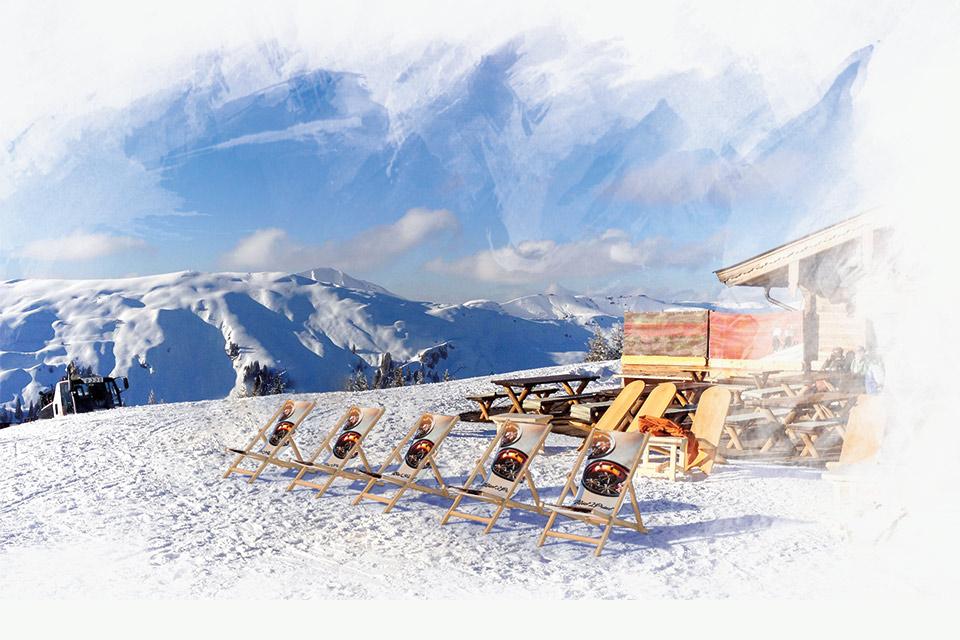 Leżaki reklamowe na stok narciarski