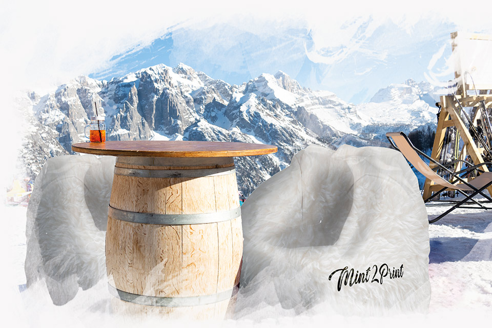 Pufy siedziska reklamowe na stok narciarski